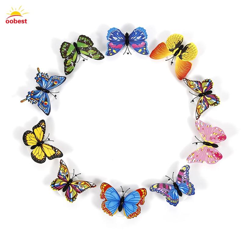 Luzes da Noite decorações do partido da decoração Tipo : 3d Wall Stickers Lifelike Butterfly Powered Led Lights