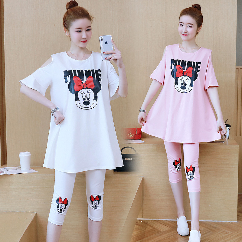 Minnie Mouse Costumes Anime Printing Dot Sleeveless Top Pants Cosplay Summer Korean Fashion Maternity Cute Minnie Mouse Set