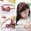 Marca new classical plaid hairbands bowknot cordas meninas headband barrette grampos de cabelo clips bebê cabelo Accessoies