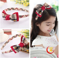 brand new classical plaid hairbands bowknot hairpins clips strings girls headband barrette baby hair Accessoies