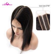 Ali coco brasileiro em linha reta 2*6 fechamento do laço do cabelo humano fechamento do laço parte média 8 20 Polegada cor natural remy cabelo