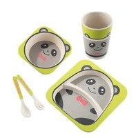 5 Pcs Cartoon Children's Tableware Baby Bamboo Fiber Kids Plate Child Separation Plate Bowl Fork Spoon Cup Set Feeding Supplies