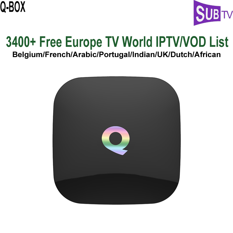3500 Channels Albanian Italy French Portuguese IPTV Subscription Arabic  Dutch IPTV Media Player Qbox 2GB 8GB IPTV Android TV Box