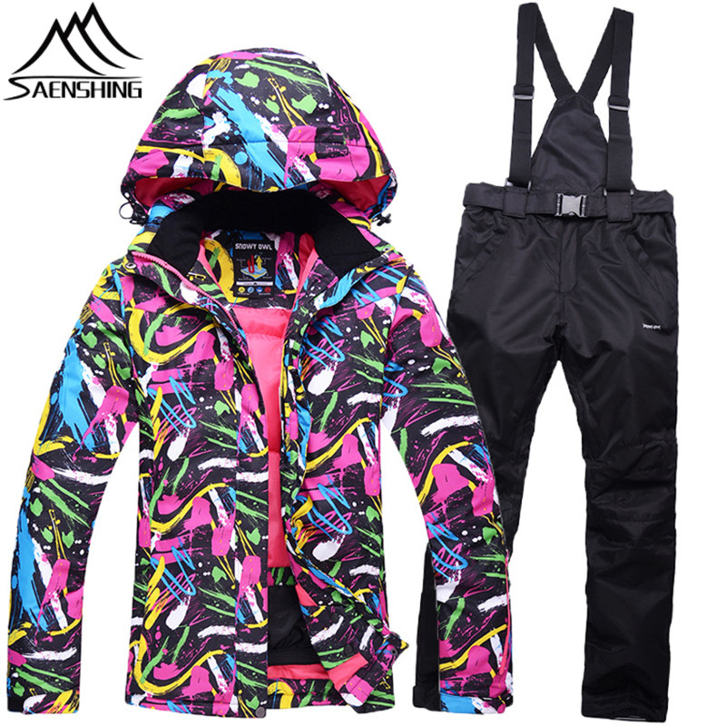Saenshing super warm ski suit female Waterproof 10K snow suits breathable Snowboard jacket+ Pant Mountain skiing women