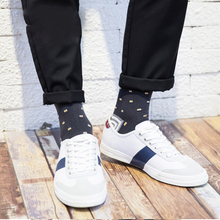 High Quality Mens Cotton Socks Colorful Jacquard Art Hit Color Dot Long Happy Dress Sock 5Pairs/Lot