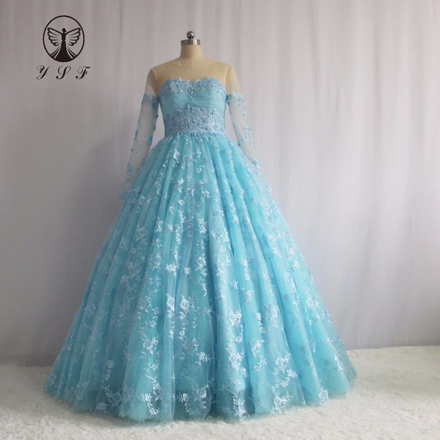 9f677815e07f6 Fashion Vestidos De Formature Light Blue Jewel Appliqueds Beaded Pearls  Puffy Long Sleeve Lace Prom Dresses