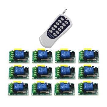 Interruptores de Control remoto AC 220 V 30A receptor de relé 12CH transmisor Motor LED interruptor inalámbrico 315/433 código de aprendizaje 4358
