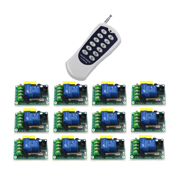 Remote Control Switches AC 220V 30A Relay Receiver 12CH Transmitter Motor LED Wireless Switch 315/433 Learning Code 4358 remote control switches dc 12v 2ch receiver long range remote control transmitter 50 1000m 315 433 rx tx 2ch relay learning code