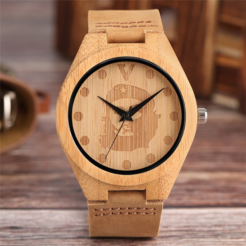 Unique Cool Che Guevara Argentina Design Quartz Bamboo Wristwatch for Men Women Real Leather Handmade Wood Watches Gifts