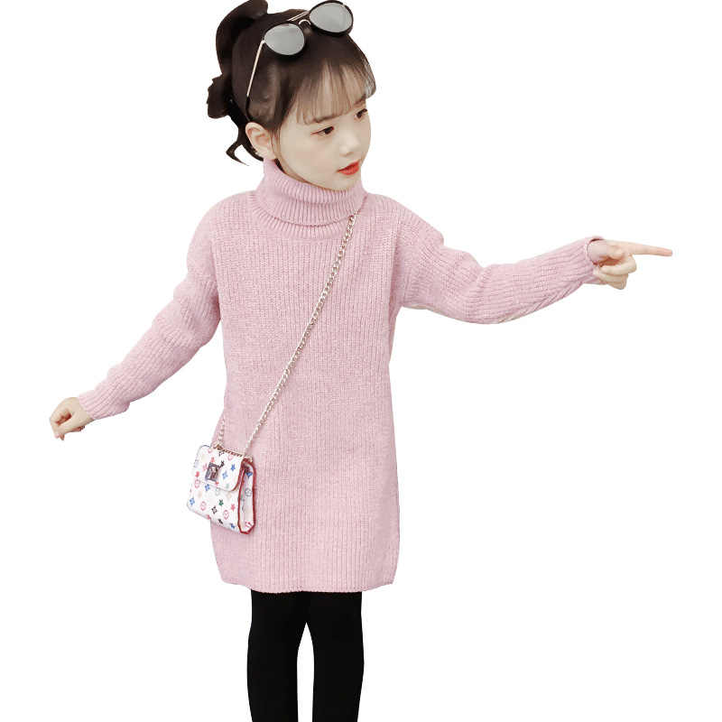 girls turtleneck sweaters autumn wnter casual solid kids girl sweater Pullover girl sweater 4 6 8 10 12 14 y children's clothing