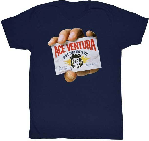 Ace Ventura Pet Detective Hand Holding Business Card Adult T Shirt Funny Movie