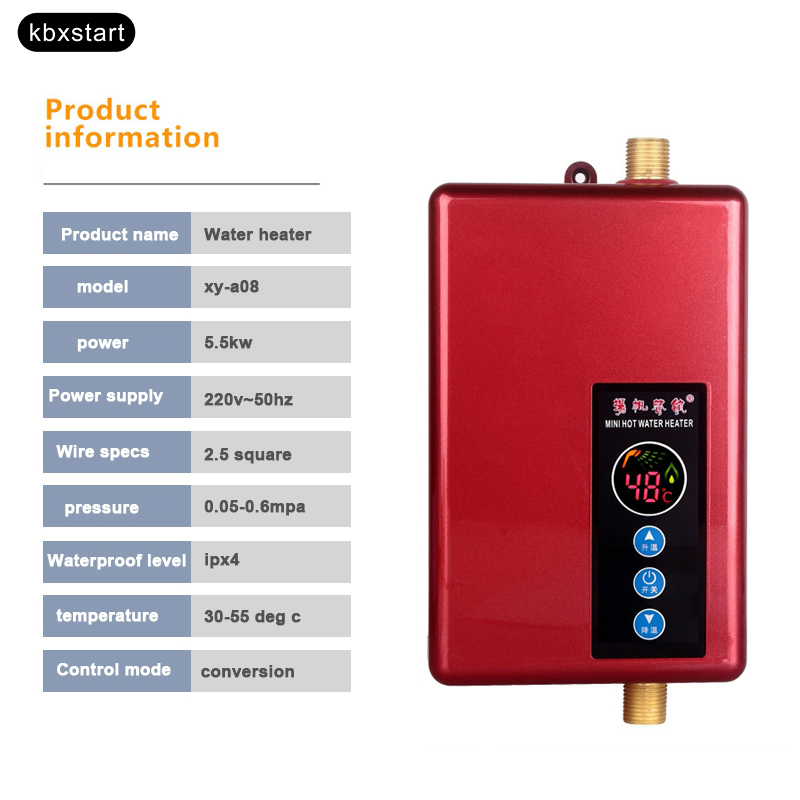 Kbxstart grifo calentador de agua eléctrico cocina baño hogar calentador de agua verano caliente inteligente ducha caliente - 2