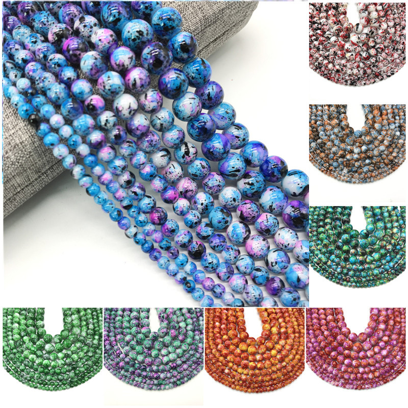 Wholesale 4/ 6/ 8/10mm Glass Beads Round Loose Spaced Beads For Jewelry Making DIY Bracelet Earrings Charms Necklace(China)