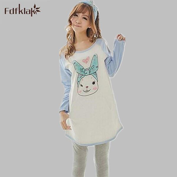 Lindo conejo 2017 Nueva primavera otoño pijamas de las mujeres pijamas de algodón de dibujos animados ladies mujer dormir set pijama ocasionales femme Q759