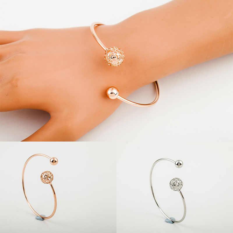 Brazalete de bola hueca para mujer, chapado en oro, cuentas de flor, pulsera, brazalete, pulsera, accesorios de joyería de moda