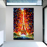 Handpainted Modern Thick Textured Landscape Oil Painting Paris Eifel Tower Lighted PALETTE KNIFE Art On Canvas