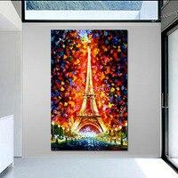 Handpainted modern kalın dokulu manzara yağlıboya Paris, Eifel Kulesi Işıklı PALETI BıÇAK sanat Tuval Üzerine