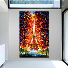 Handpainted modern thick textured landscape oil painting Paris, Eifel Tower Lighted  PALETTE KNIFE art On Canvas