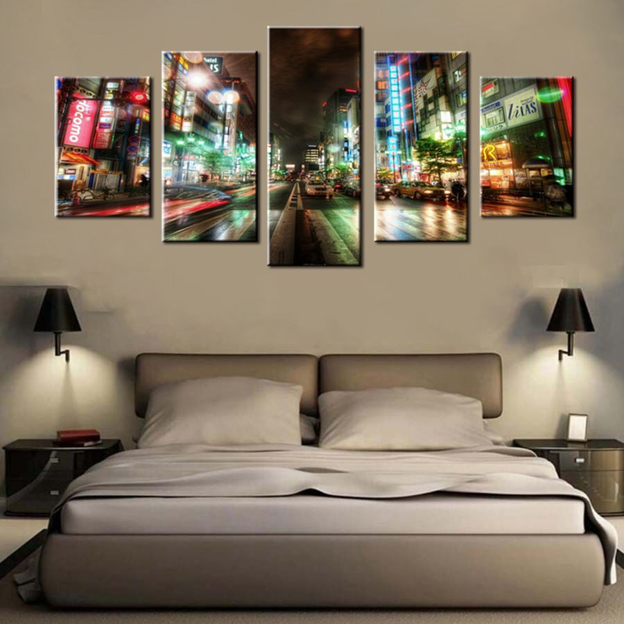 The Neon Lights City Night Broadway Street View Scene Best Gift Artwork For Living Room Decor