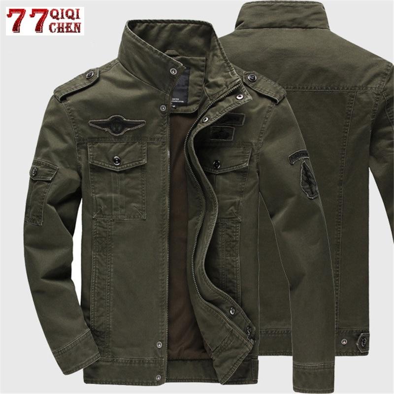 Flight Jacket Jeans Tactical Cotton Coat Army-Bomber Autumn Plus-Size Winter Casual 6XL