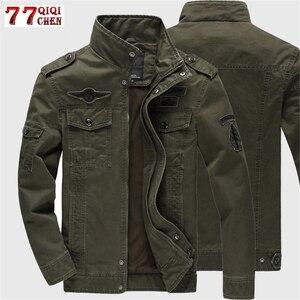 Image 1 - 2020 Military Jacket Men Jeans Casual Cotton Coat Plus Size 6XL Army Bomber Tactical Flight Jacket Autumn Winter Cargo Jackets