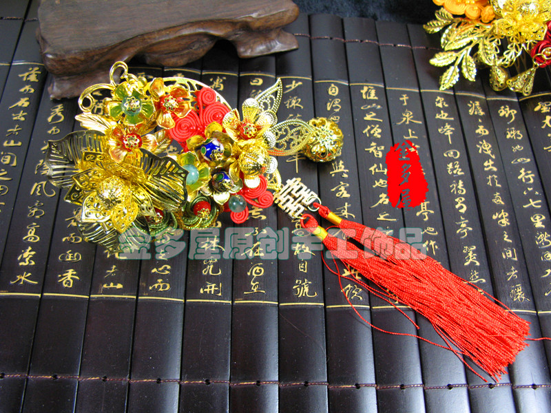 Gold cloth insert comb classical costume the bride hair accessory hanfu cheongsam accessories bride of the water god v 3