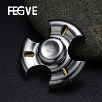 FEGVE Mirror Fidget Spinner Hand Spinner Finger Tri Spinner Metal Stainless Steel EDC 695 Ceramic Bearings