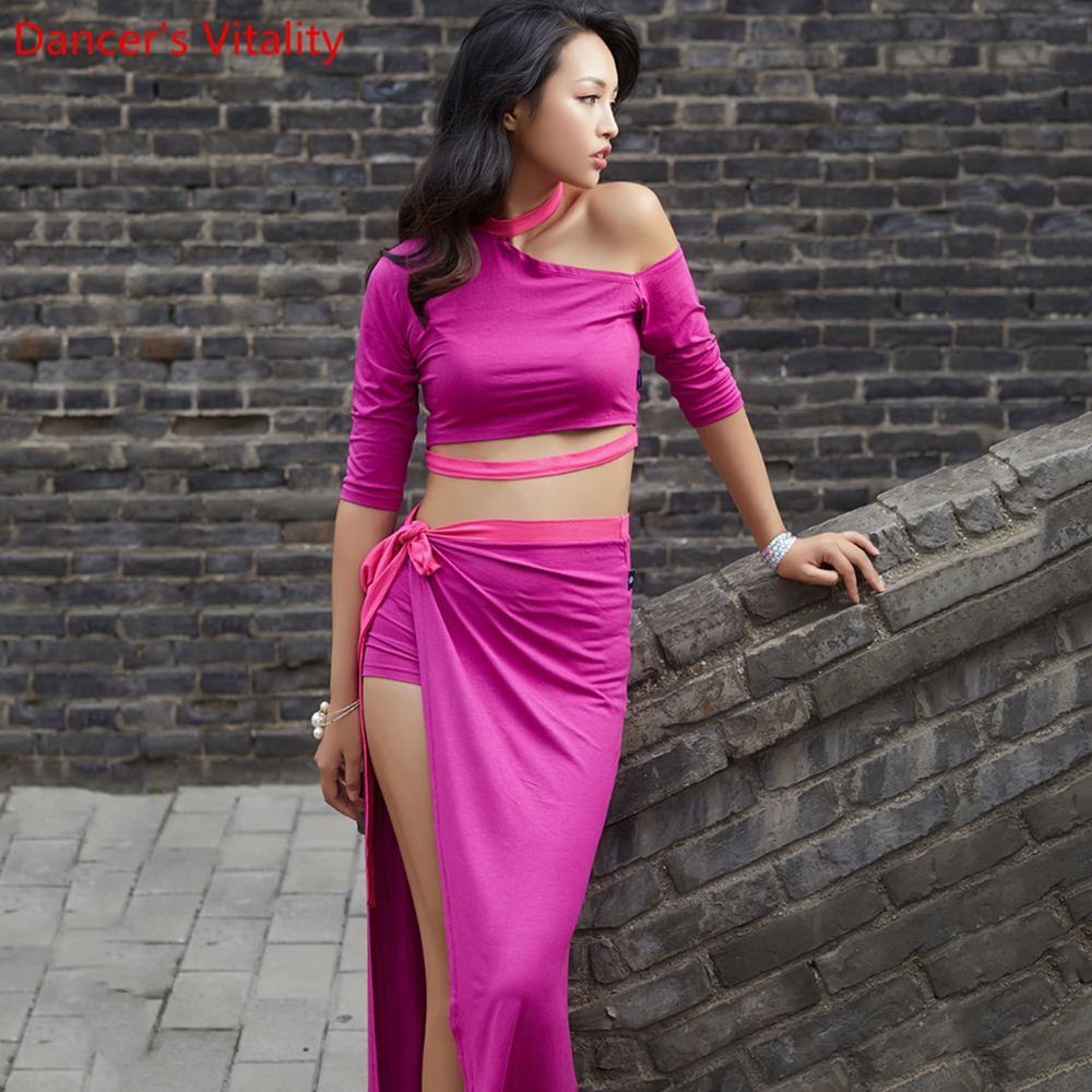 New Competition 2 Piece Set Women Belly Dance competition Top sexy Split Long Skirt Dancer Practice