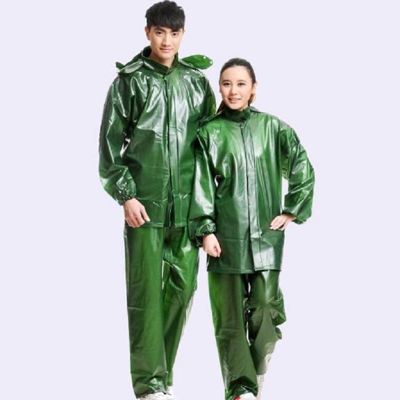 Thicken Women Raincoat Rain Pants Set Impermeable Poncho Raincoats Men Motorcycle Rain Suit Outdoor Fishing Rainwear Rain Pants