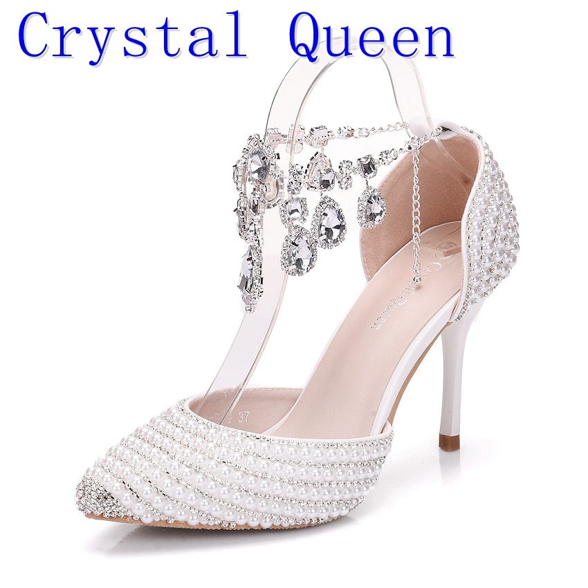 Crystal Queen Bridal Shoes Women Crystal Rhinestone Pointed Toe High Heels Sexy Wedding Evening Party Shoes Ladies Pumps women wedding silver shoes crystal sequins decor pumps lace slip on bridal super high heel round toe sexy ladies party shoes
