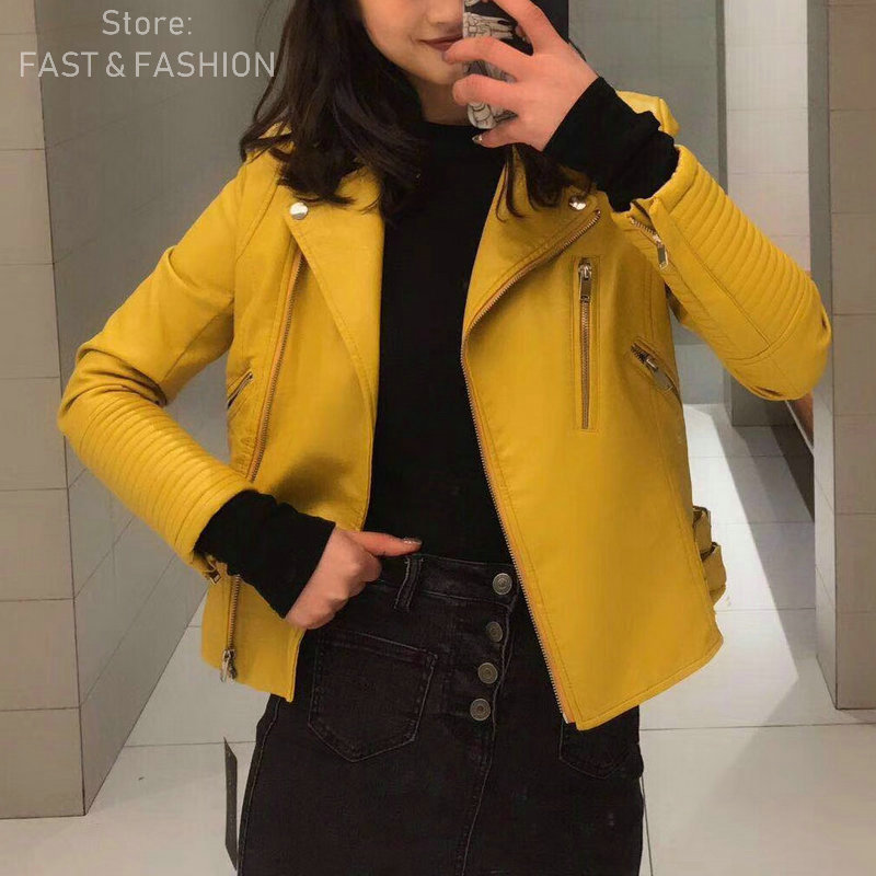 2019 New Fashion Women Casual Faux Soft   Leather   Jackets Ladies Autumn Winter PU Yellow Matte Zippers Coats Motorcycle Outerwear