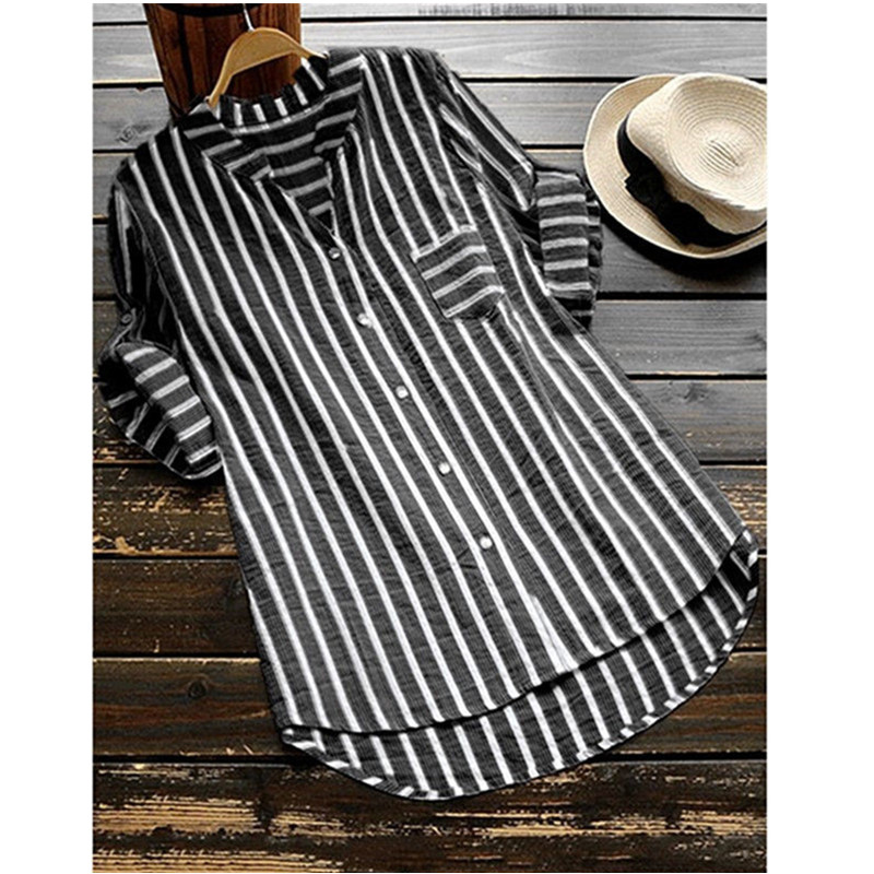 Women Fashion Striped V-Neck Baggy Blouse Lady Casual Loose Tunic Tops Plus Size Shirts S-5XL(China)