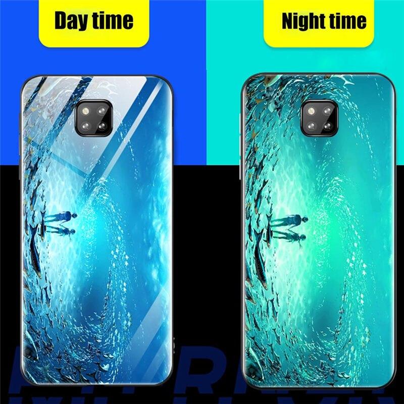 Luminous Case For Huawei Mate 20 Lite P30 Pro P20 P Smart 2019 On Honor 8X V20 8C 9 7X Tempered Glass Case For Huawei Nova 4 3I