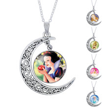 NingXiang Fashion Snow White Glass Cabochon Moon Pendant Necklace For Girls Collar Princess Choker Necklace Jewelry Gift