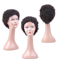 Brazilian Jerry Curly Short Lace Wigs with Bang Non Remy Human Hair Wigs For Women Natural Color