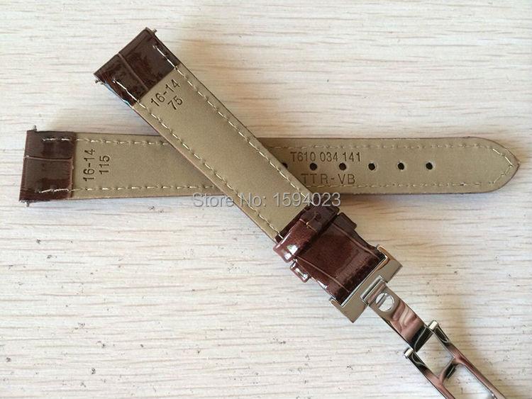 16 мм(Buckle14mm) T055217A высокое качество Серебряная Бабочка Пряжка+ коричневый Натуральная кожаные браслеты для часов с ремешком
