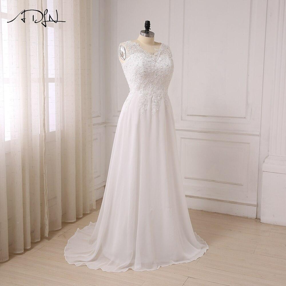ADLN I lager Plus Storlek Bröllopsklänning Vit / Ivory Cap Sleeve - Bröllopsklänningar - Foto 4