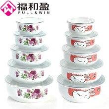 5 pieces/set Classic White Enamel Dessert Bowls Soup Pots Salad Bowl Food bowl with Airtight Plastic Cover