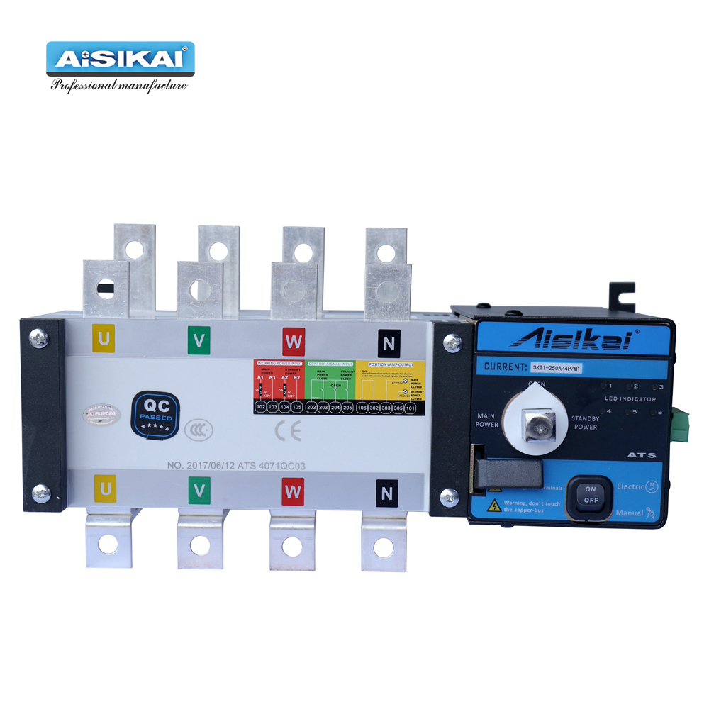 AISIKAI <font><b>ATS</b></font> 250A 4P controller dual power automatic transfer <font><b>switch</b></font> parts 220V 380V electric diesel generator panel board 3phase image