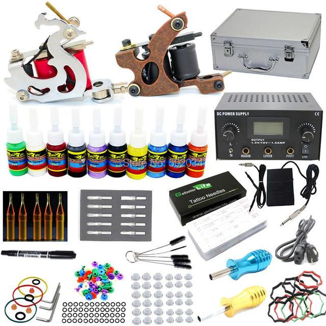 EUA Despacho Completa Tattoo Starter Kit 2 Machine Gun 10 cores Tintas 50 Agulhas Dicas Grips LCD Power Set Abastecimento