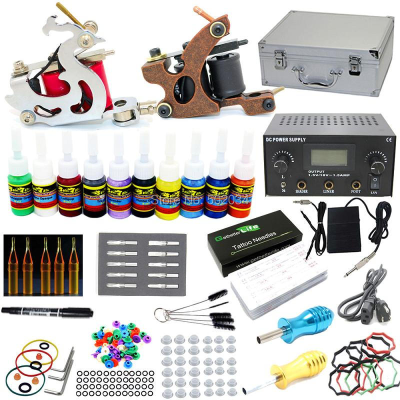 USA Dispatch  Complete Starter Tattoo Kit 2 Machine Gun 10 Inks colors 50 Needles Tips Grips LCD Power Set Supply starter tattoo kit 40 inks 2 machine guns grips needles tips power set equipment supplies for beginners usa warehouse k201i1