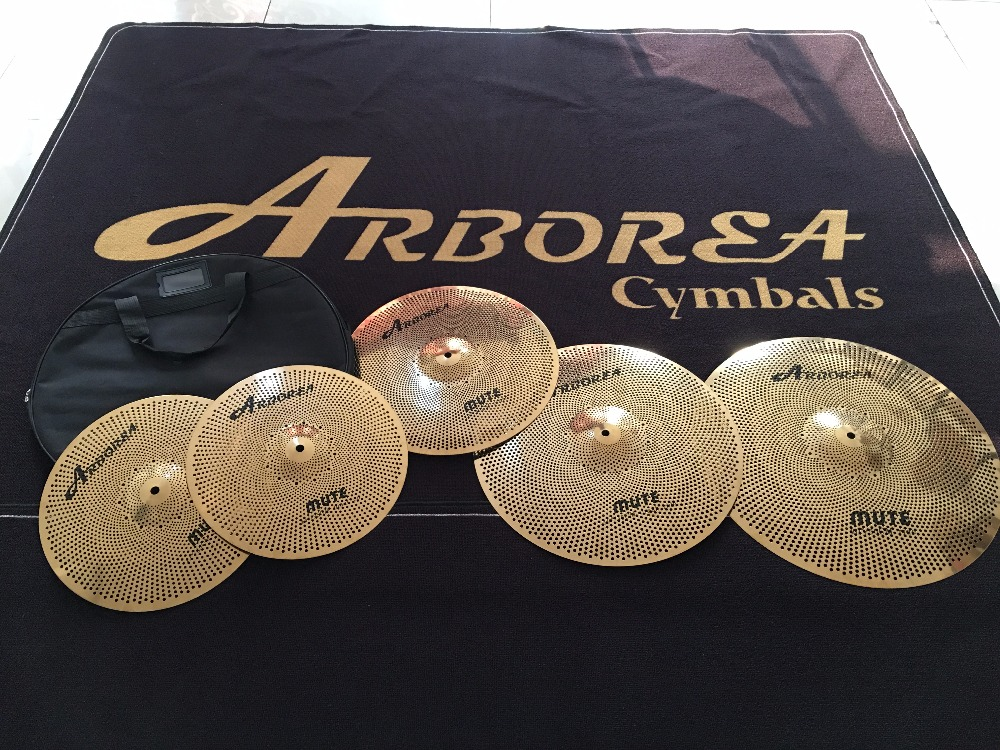 Arborea mute cymbal set including five pieces(14+16+18+20+bag) most popular arborea low volume cymbal silence cymbal set with bag