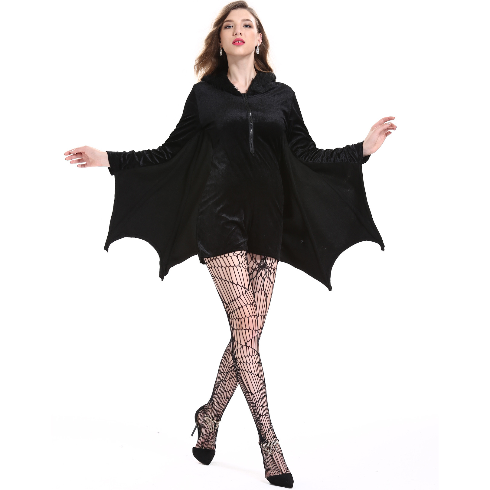 2pcs <font><b>Halloween</b></font> <font><b>Sexy</b></font> <font><b>Vampire</b></font> <font><b>Costume</b></font> Women Black Evil Bat <font><b>Costume</b></font> Clothes Masquerade Carnival Role Playing <font><b>Vampire</b></font> <font><b>Costumes</b></font> image