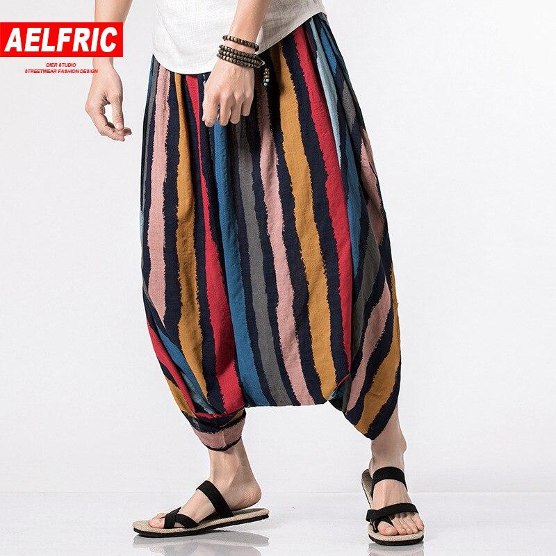 AELFRIC 2018 New Summer Hip Hop Calf-length Casual Pants Men Stripe Harem Joggers Male B ...