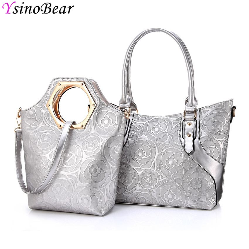 YsinoBear Luxury Ladies Shoulder Bags 2Pcs High Quality Silver PU Leather Bags Rose Flowers Composite Bag Soft Handbag For Women