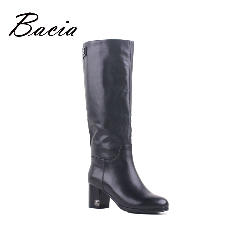 Bacia Vintage Women Boots Knee High Genuine Leather Back Zip Handmade Shoes High Boots Wool Fur & Synthetic Winter Boots VB096
