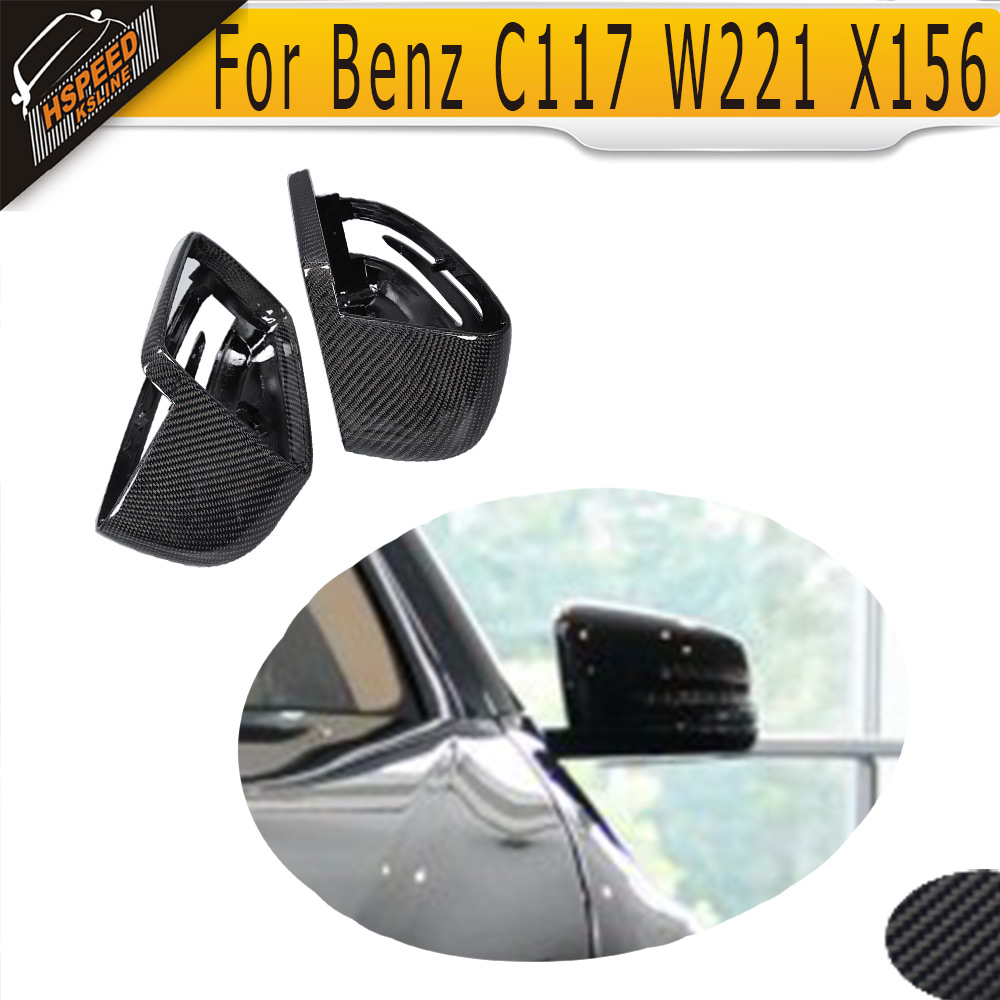 Replacement Carbon Car Side Mirror Cover for Mercedes Benz W176 W246 W204 C117 W218 W212 W207 X156 X204 W221 White Chrome цена
