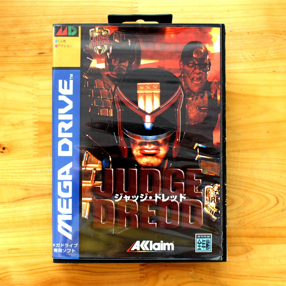 Judge Dredd 16 Bit MD Game Card with Retail Box for Sega MegaDrive & Genesis Video Game console system