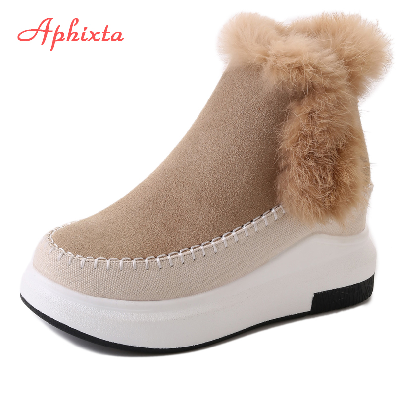 Aphixta Classic Women Snow Boots Shoes Woman Ankle Boots Lace-Up Warm Winter Fur Plush Boots Suede Flat Heels Botas Mujer Shoes zorssar 2017 new classic winter plush women boots suede ankle snow boots female warm fur women shoes wedges platform boots
