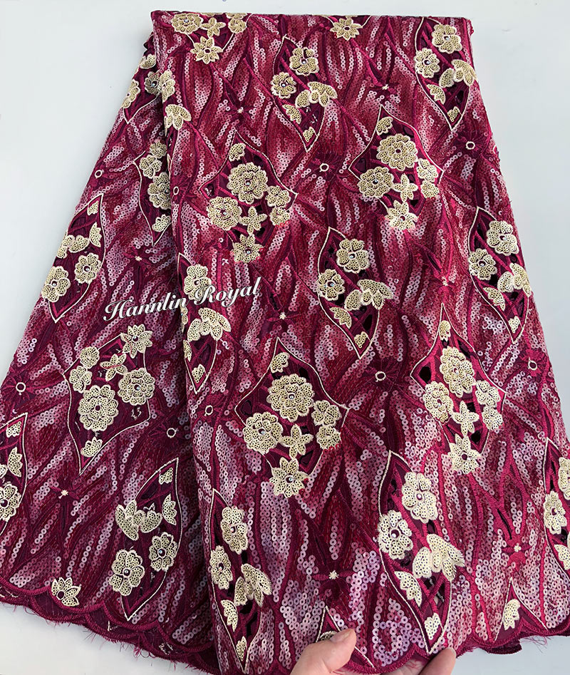 5 yards shine Handcut lace African lace fabric for Nigeria sewing garment with allover sequins